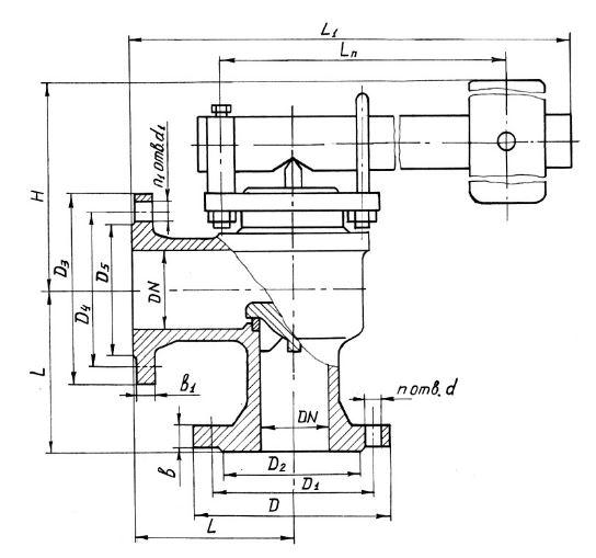 Клапан предохранительный однорычажный угловой