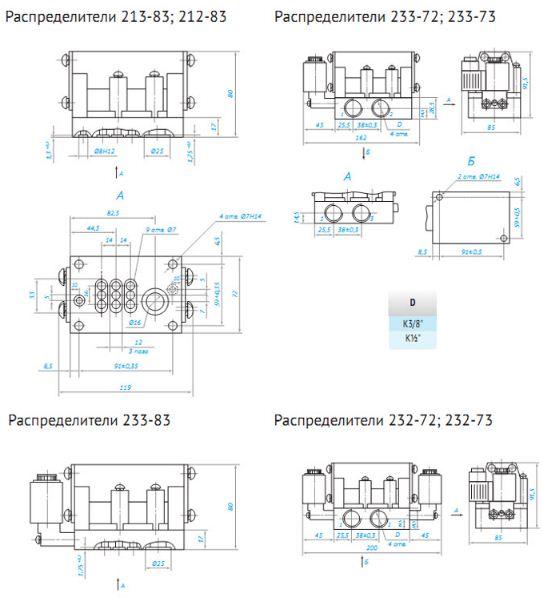 2 чертеж contragent.com.ua Пневмораспределители четырёхлинейные типа 5РМ